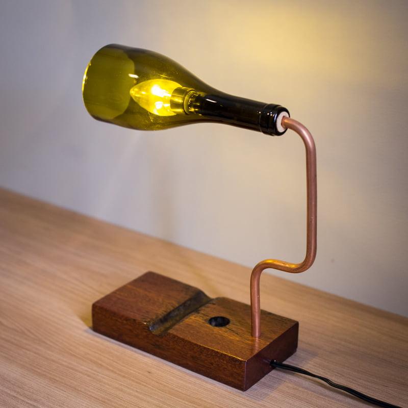Luminária Garrafa de Vinho Verde - Glass's Art